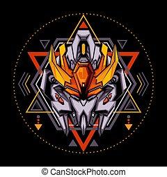 géométrie, roi, robot, sacré