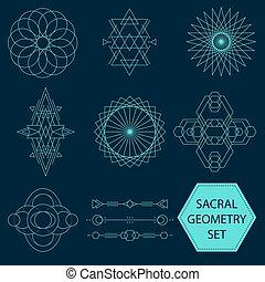 géométrie, sacral, vecteur, ensemble