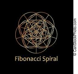 géométrie, spiral-, fibonacci, sacré