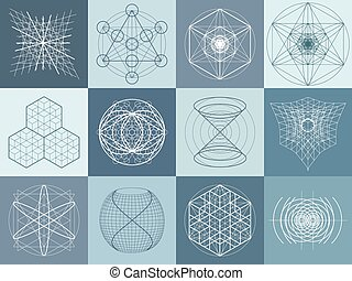 géométrie, symboles, éléments, ensemble, sacré
