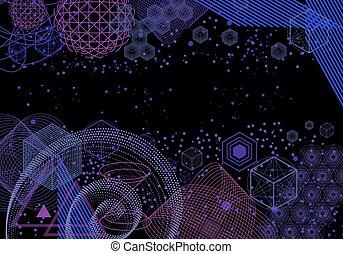 géométrie, symboles, éléments, fond, sacré