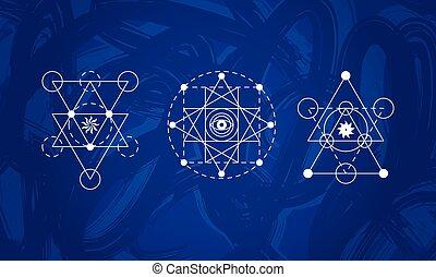 géométrie, symboles, résumé, ensemble, sacré