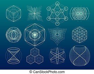 géométrie, symboles, set., éléments, sacré