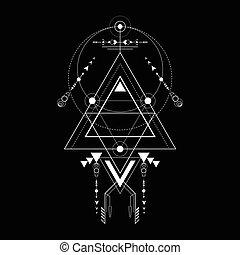 géométrie, triangle, sacré