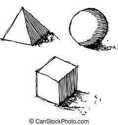 géométrie, vecteur, croquis, dessin