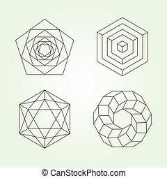 géométrie, vecteur, ensemble, sacré