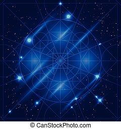 géométrie, vecteur, magie, signe