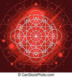 géométrie, vecteur, signe, magie