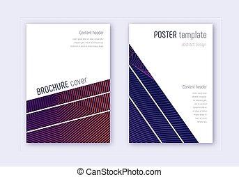 géométrique, abstra, couverture, set., violet, gabarit, ...