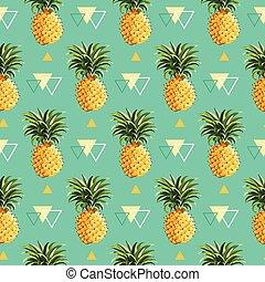géométrique, ananas, fond, -, seamless, modèle, dans,...
