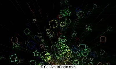 géométrique, anim, fond, colorfull