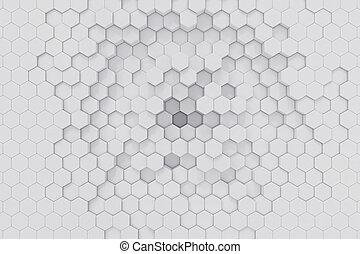 géométrique, arrière-plan., rendre, hexagonal, blanc, résumé, 3d