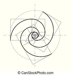 géométrique, arrière-plan., vecteur, design., style, minimalistic, shapes., doré, cercles, icon., logo., proportion., résumé, ratio., futuriste