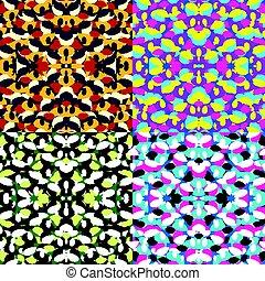 géométrique, arrière-plans, coloré, collection, seamless