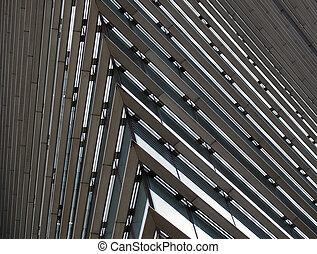 géométrique, bâtiment bureau, métallique, grand plan, grand...