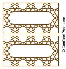 géométrique, business, blanks, arabe, ornament., cartes.