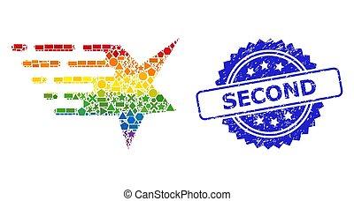 géométrique, cachet, détresse, multicolore, étoile, timbre, seconde, mosaïque