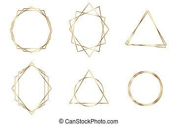 géométrique, cadre, polyhedron., or