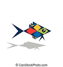 géométrique, coloré, fish
