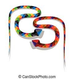 géométrique, coloré, serpents