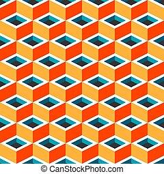 géométrique, cubique, seamless, multicolore, modèle