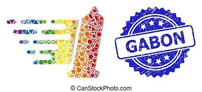 géométrique, détresse, multicolore, préservatif, collage, gabon, timbre
