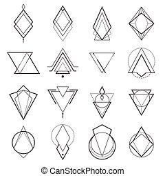 géométrique, ensemble, éléments, minimalistic