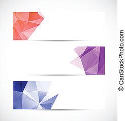 géométrique, ensemble, bannières