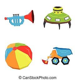 géométrique, ensemble, jouets