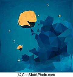 géométrique, fond, ciel étoilé