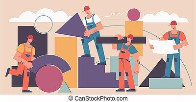 géométrique, fond, industriel, professionnel, projet, shapes., construction, bâtiment, constructeurs, vecteur, résumé, travail, concept.