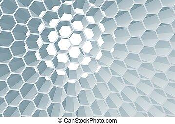 géométrique, fond, résumé, hexagone, rayon miel