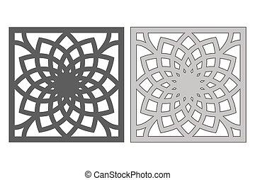 géométrique, illustration., 1:1., vecteur, gabarit, cut., proportion, laser, cutting., pattern., fleur