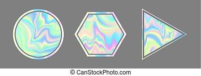 géométrique, illustration., style, vaporwave, holographic, ...
