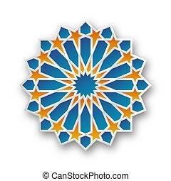 géométrique, islamique, étoile, ornement