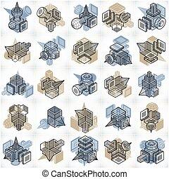 géométrique, isométrique, résumé, ensemble, shapes., vecteur
