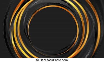 géométrique, mouvement, fond, bronze, cercles, noir, lustré, résumé
