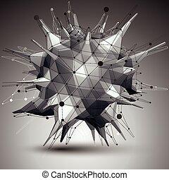 géométrique, objet, résumé, 3d
