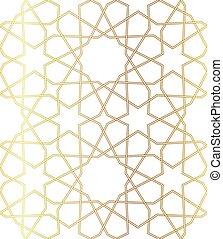 géométrique, or, vecteur, arabe, style, fond, ligne., fait, ...