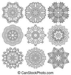 géométrique, ornement, dentelle, cercle, napperon, rond, ...