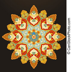 géométrique, ornement, radial
