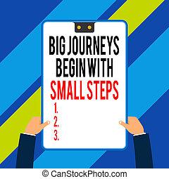 géométrique, petit avoir, étape, électronique, une, ton, portée, écriture, temps, business, appareil, voyages, mains, mâle, commencer, mot, grand, cadre, arrière-plan., buts, deux, steps., texte, concept