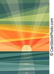 géométrique, plage., coucher soleil, résumé