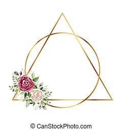 géométrique, polyèdre, fleurs