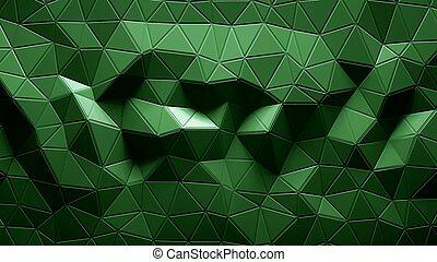 géométrique, polygonal, couleur d'arrière-plan, résumé, vert