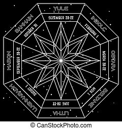 géométrique, résumé, année, païen, style, fond, roue, espace