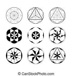 géométrique, sacré, ensemble, geometry., linéaire, elements.