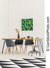 géométrique, salle manger, intérieur