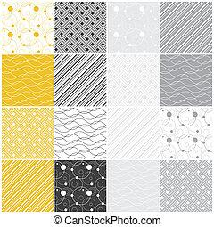 géométrique, seamless, patterns:, points, vagues, raies