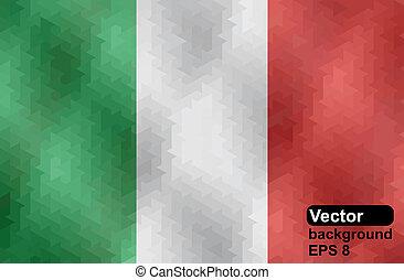 géométrique, shap, drapeau italien, fait